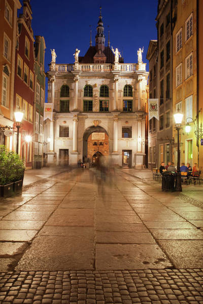 Tenement Photograph - Golden Gate At Night In City Of Gdansk by Artur Bogacki