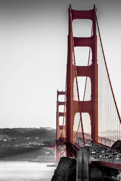 Golden Gate Black And Red Art Print