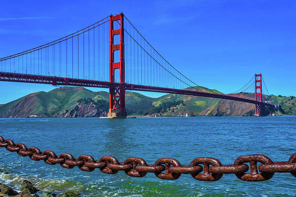 Chain Bridge Photograph - Golden Gate Bridge And Chain by Garry Gay