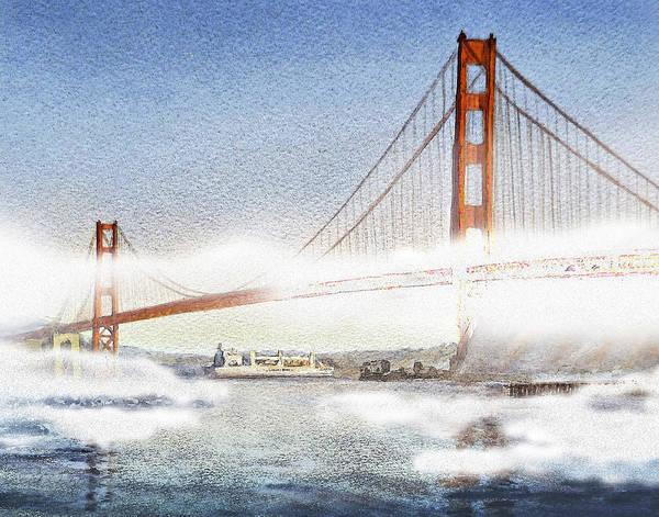 Golden Gate Painting - Golden Gate Bridge And San Francisco Fog  by Irina Sztukowski