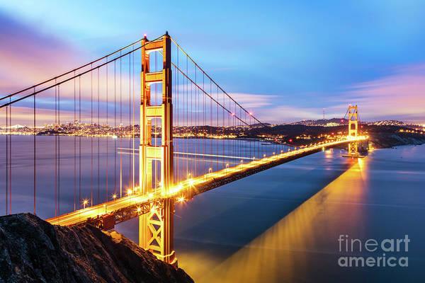 Wall Art - Photograph - Golden Gate Bridge At Dawn, San Francisco, California, Usa by Matteo Colombo
