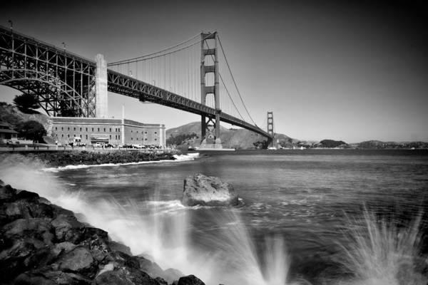 Us West Coast Photograph - Golden Gate Bridge Fort Point Monochrom by Melanie Viola