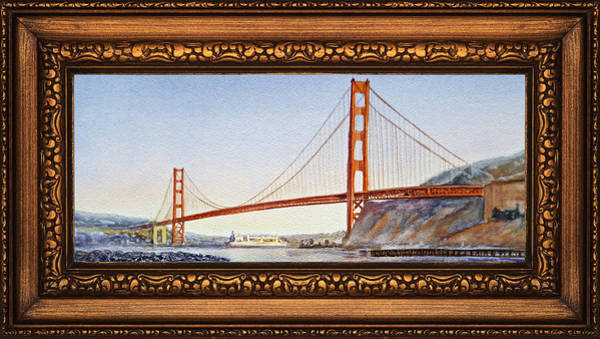 Golden Gate Painting - Golden Gate Bridge In Vintage Frame by Irina Sztukowski