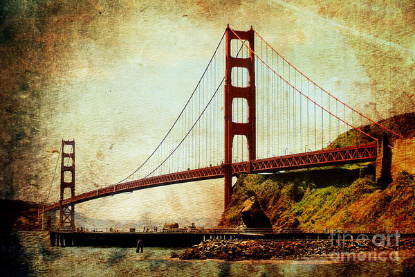 Photograph - Golden Gate Bridge . Photoart by Wingsdomain Art and Photography