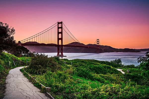Golden Gate Bridge San Francisco California At Sunset Art Print