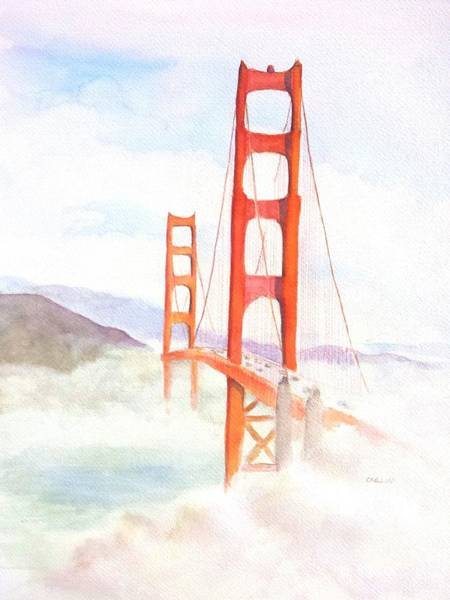 Golden Gate Painting - Golden Gate Bridge San Francisco Coastal Fog by Carlin Blahnik CarlinArtWatercolor