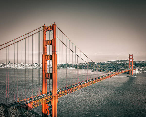 Photograph - Golden Gate Bridge Selective Color by James Udall