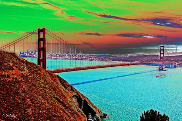 Solarized Photograph - Golden Gate Bridge Solarized by David Salter