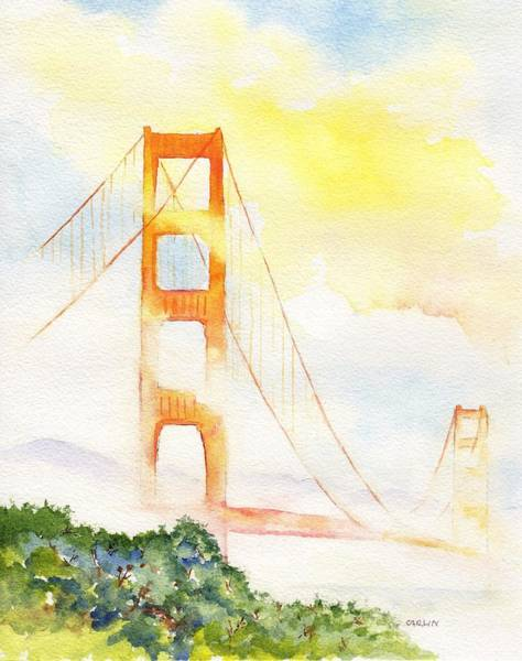 Painting - Golden Gate Bridge Sun And Fog by Carlin Blahnik CarlinArtWatercolor