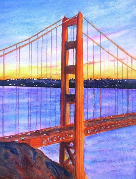 Area Painting - Golden Gate Bridge Tower Sunset by Carlin Blahnik CarlinArtWatercolor
