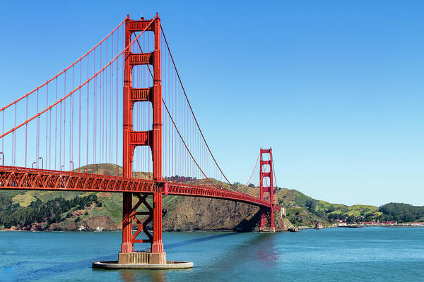 Photograph - Golden Gate Bridge With Blue Sky by Teri Virbickis