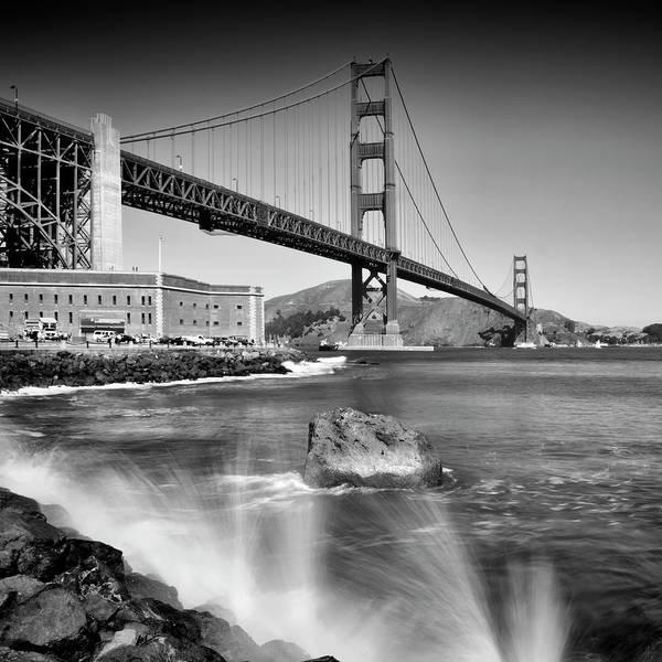 Us West Coast Photograph - Golden Gate Bridge With Breakers by Melanie Viola