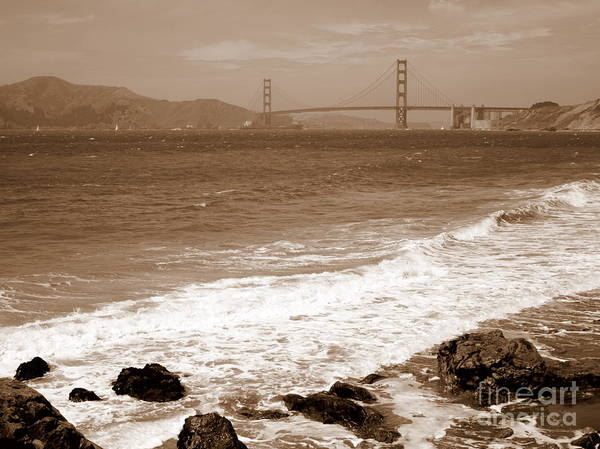 Photograph - Golden Gate Bridge With Shore - Sepia by Carol Groenen