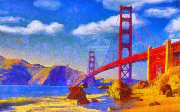 Digital Art - Golden Gate by Caito Junqueira
