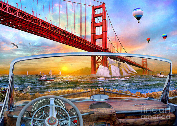 Seagull Digital Art - Golden Gate Car by MGL Meiklejohn Graphics Licensing