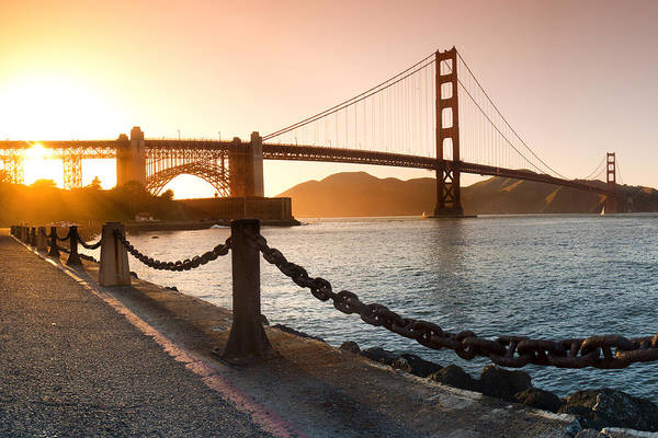 Chain Link Photograph - Golden Gate Chain Link by Sean Davey