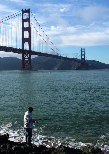 Photograph - Golden Gate Fisherman by Aidan Moran