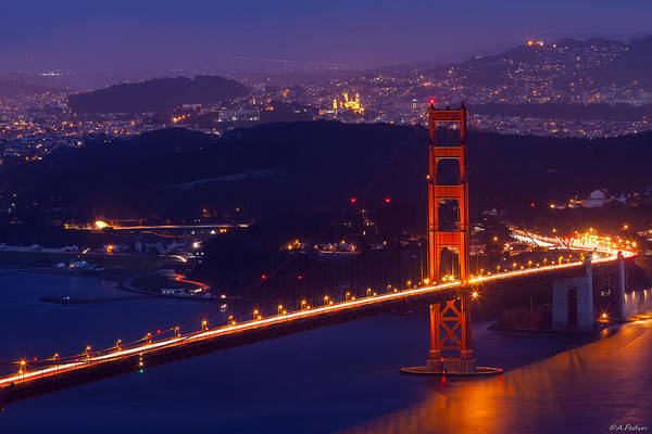 Photograph - Golden Gate In Golden Hours 2 by Alexander Fedin