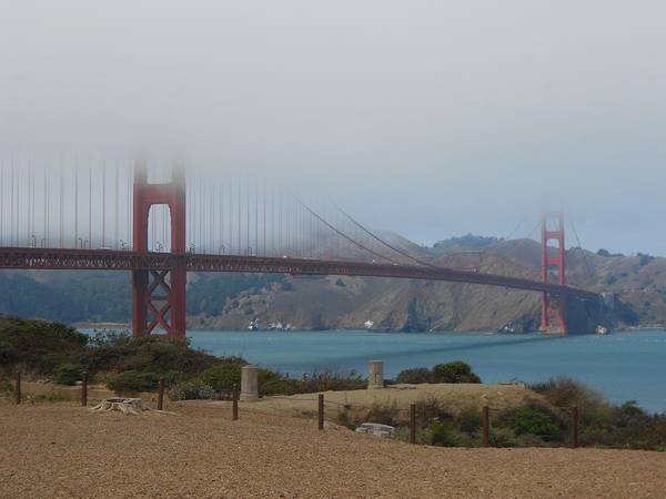 Golden Gate In The Clouds Art Print