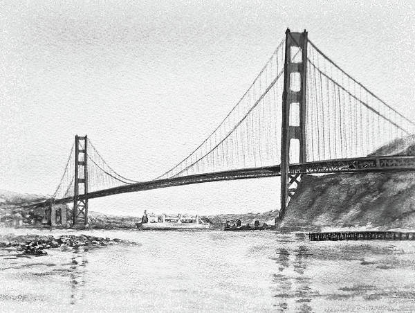 Red White And Blue Painting - Golden Gate San Francisco Black And White Watercolor by Irina Sztukowski