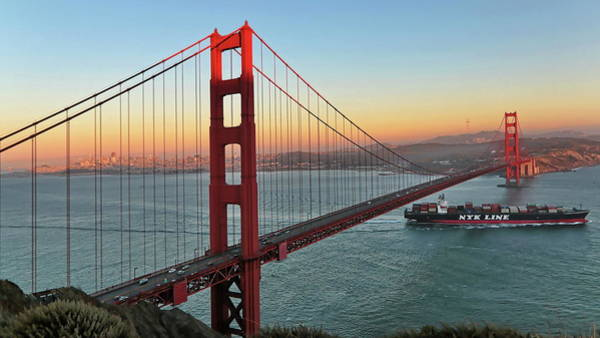 Photograph - Golden Gate Sunset by Harold Rau