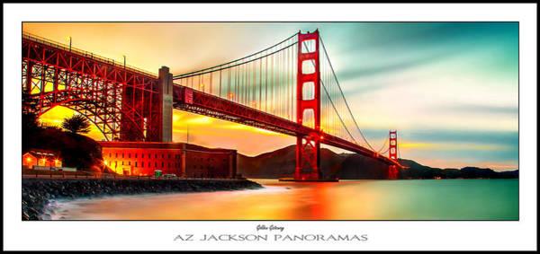 Red Bridge Wall Art - Photograph - Golden Gate Sunset Poster Print by Az Jackson