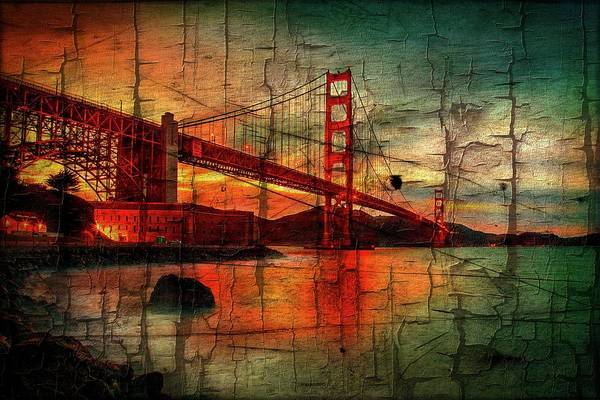 Peeling Photograph - Golden Gate Weathered by Az Jackson