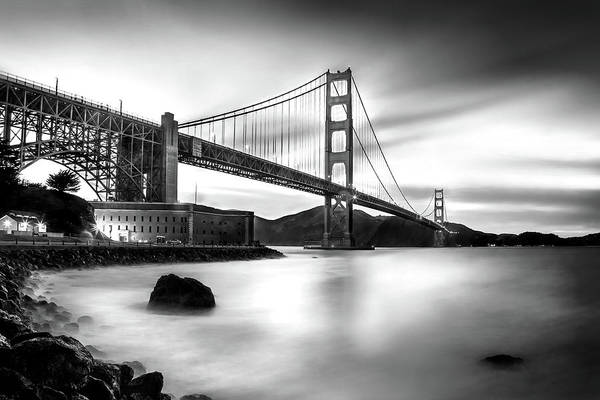 San Francisco Bridge Wall Art - Photograph - Golden Gateway Bw by Az Jackson