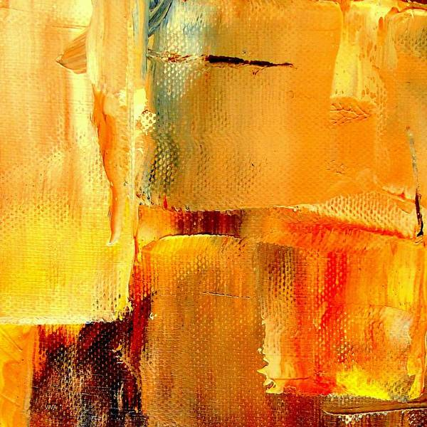 Painting - Golden Glow Abstract Square by VIVA Anderson