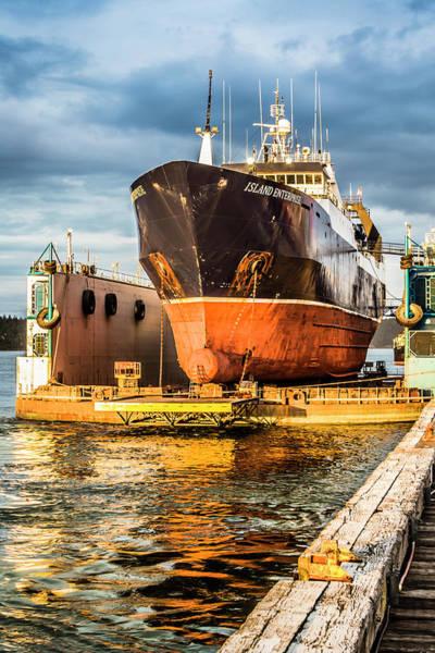 Wall Art - Photograph - Golden Glow On Dry Dock by Tony Locke