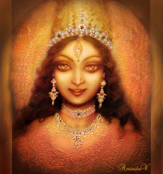 Golden Goddess Durga  Art Print by Ananda Vdovic