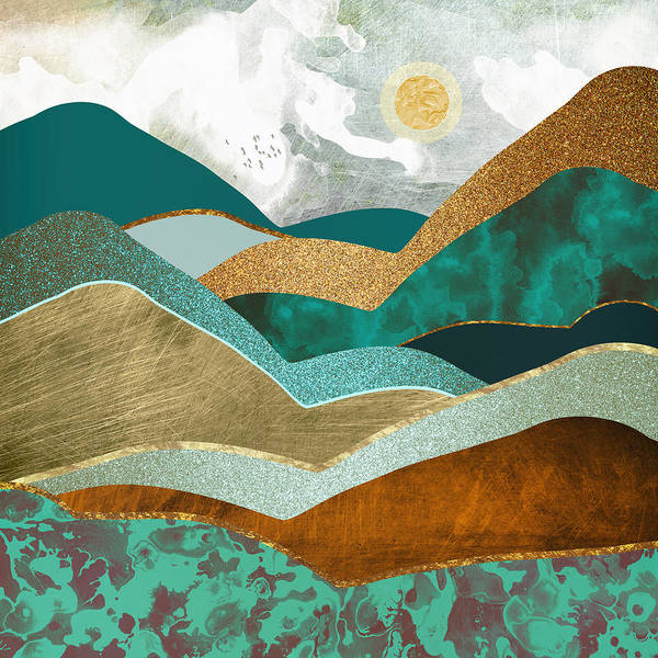 Wall Art - Digital Art - Golden Hills by Spacefrog Designs