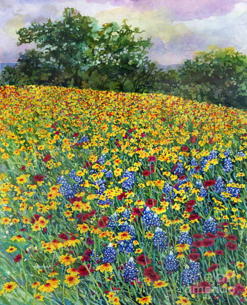In Bloom Wall Art - Painting - Golden Hillside by Hailey E Herrera