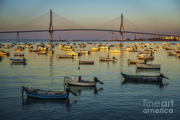 Photograph - Golden Hour At 1812 Constitution Bridge From Puntales Cadiz Spain by Pablo Avanzini