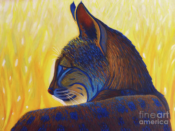 Wall Art - Painting - Golden Hour Bobcat by Brian Commerford