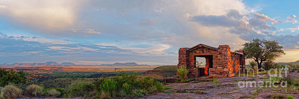 Photograph - Golden Hour Panorama Of Davis Mountains State Park Rock Shelter Pavilion And Fort Davis - West Texas by Silvio Ligutti
