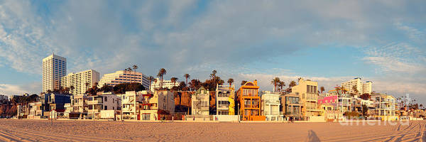Pier 66 Photograph - Golden Hour Panorama Of Santa Monica Condos And Bungalows - Los Angeles California by Silvio Ligutti
