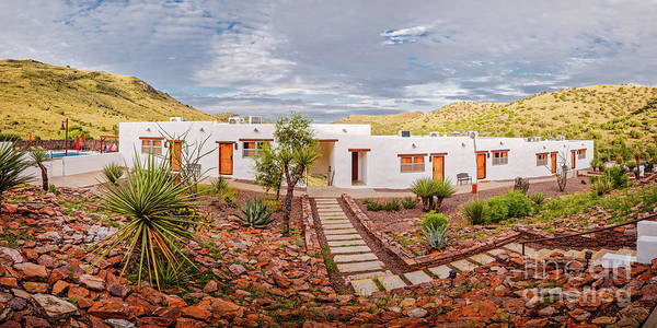 Photograph - Golden Hour Panorama Of The Indian Lodge At Davis Mountains State Park - Fort Davis West Texas by Silvio Ligutti