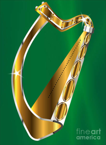 Harp Digital Art - Golden Irish Harp by Bigalbaloo Stock
