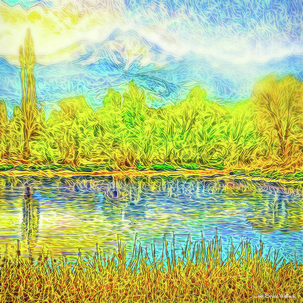 Digital Art - Golden Lake Reflections by Joel Bruce Wallach