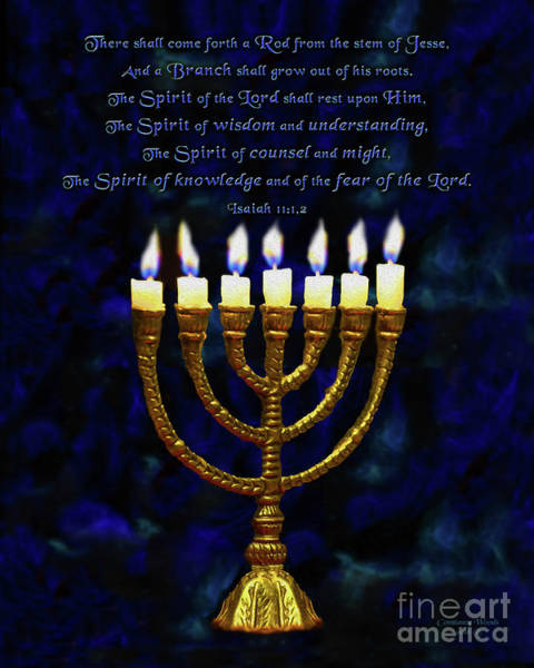 Judaica Digital Art - Golden Lampstand by Constance Woods