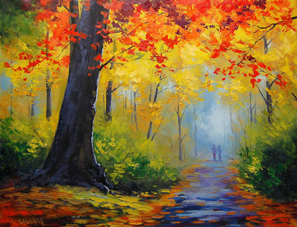 Leaf Painting - Golden Landscape by Graham Gercken