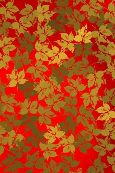 Digital Art - Golden Leaves And Red Backlight by Alberto RuiZ
