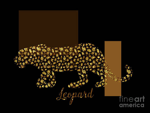 Negative Space Digital Art - Golden Leopard Modern Gilt Wild Cat, Gold Black Brown by Tina Lavoie