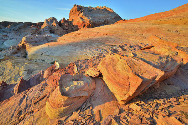 Photograph - Golden Light On Sandstone Slopes In Valley Of Fire At Sunrise by Ray Mathis