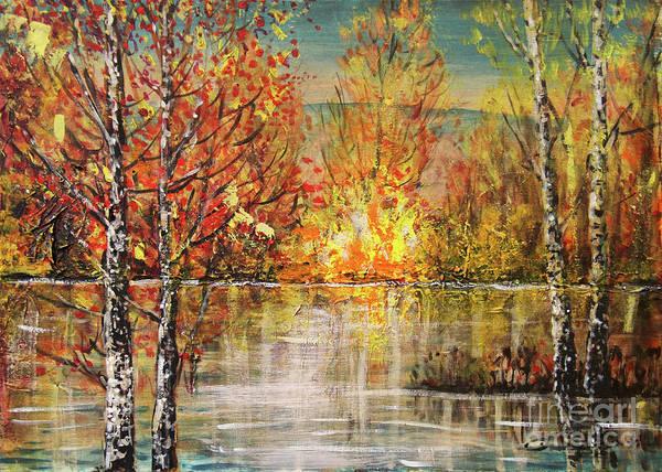 Wishing Well Painting - Golden Lights by Dariusz Orszulik