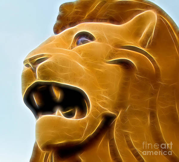 Digital Art - Golden Lion by Ray Shiu
