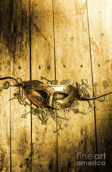 Wood Planks Photograph - Golden Masquerade Mask With Keys by Jorgo Photography - Wall Art Gallery