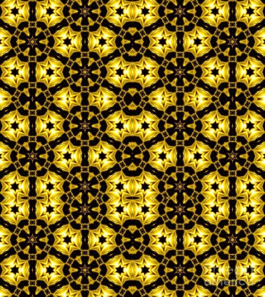 Photograph - Golden Metallic Lights Kaleidoscope Mandala Abstract 1 by Rose Santuci-Sofranko