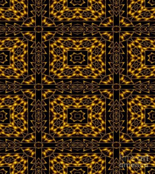 Photograph - Golden Metallic Lights Kaleidoscope Mandala Abstract 4 by Rose Santuci-Sofranko
